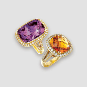 Citrine and amethyst rings