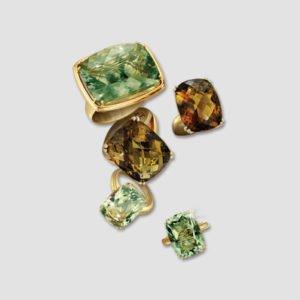 prasiolite, green amethyst, madeira citrine and diamond dress rings