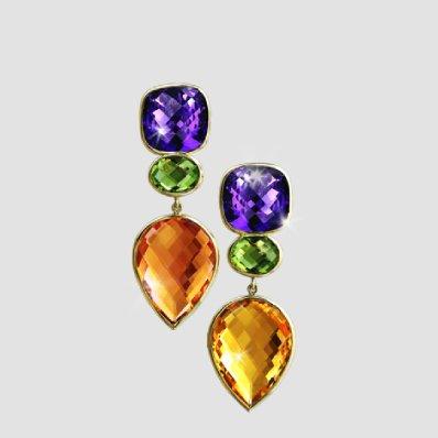 amethyst, peridot and citrine pendant earrings