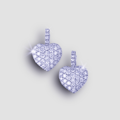 diamomd heart earrings