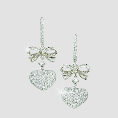 heart and bow diamond pave earrings