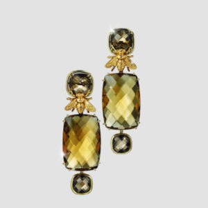Citrine and Smokey Quartz drop earrings