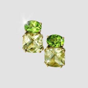 stud earrings with peridot and lemon quartz