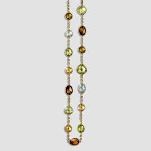 citrine, lemon quartz, prasiolite and smokey quartz necklace