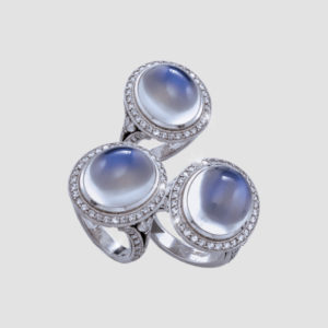 Moonstone and diamond rings