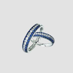 Diamond and Sapphire Hoop Earrings