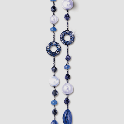 Diamond, Tanzanite and Black Spinel Necklace