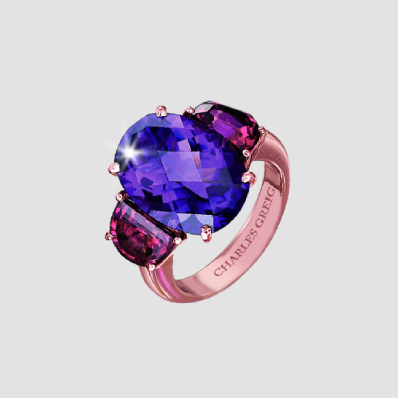 amethyst and rhodolite oval ring