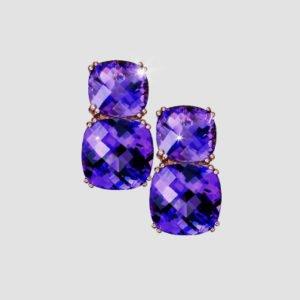 amethyst and rhodolite earrings