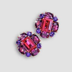 rubellite, rhodolite and amethyst cluster earrings
