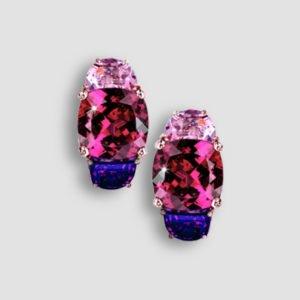 rhodolite, amethyst and pink tourmaline earrings