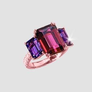 amethyst, rhodolite and diamond ring