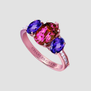 Mulberry Balloons - rhodolite, amethyst and diamond ring