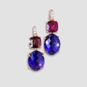 amethyst, rhodolite and diamond drop earrings
