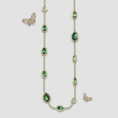 tsavorite and diamond spectacle neck-chain