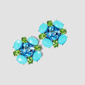 blue topaz, peridot turquoise cabochon cluster earrings