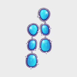 turquoise cabochon and diamond triple cluster pendant earrings