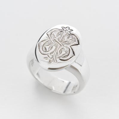 Sterling Silver Engraved Signet Ring