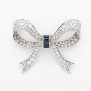 Diamond & Sapphire Baguette Bow Brooch