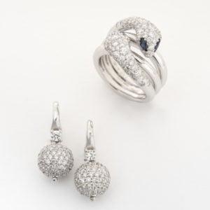 White Gold Diamond Pavé Ball Earrings & Snake Ring