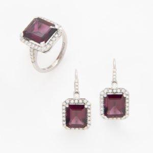 Emerald-Cut Rhodolite & Diamond Ring & Earrings