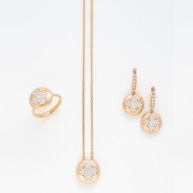 Rose Gold & Diamond Ring, Neclace & Earrings