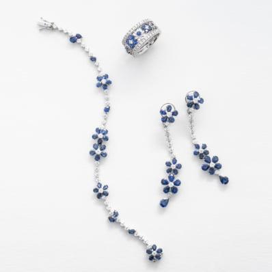 Blue Sapphire & Diamond Bracelet, Ring & Earrings