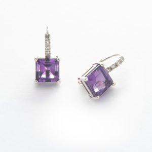 Amethyst & Diamond Drop Earrings