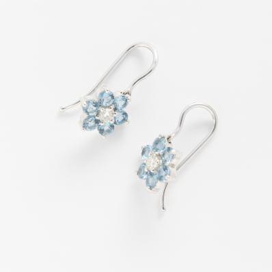 Aquamarine & Diamond Drop Earrings