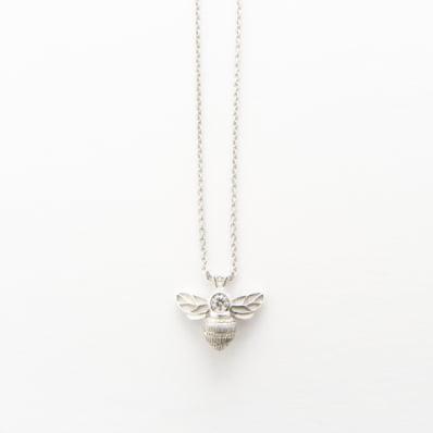 White Gold Diamond Bee Pendant on Anchor Chain