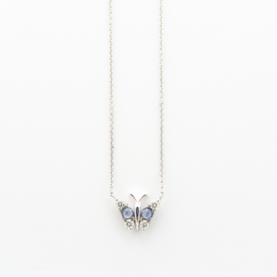 Blue Sapphire & Diamond Butterfly Necklace on Chain