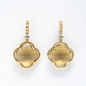 Citrine & Diamond Flower Drop Earrings