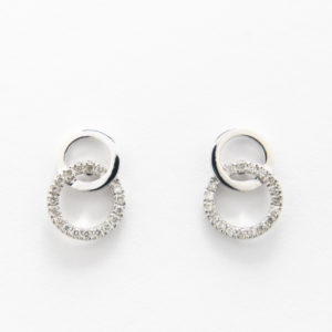 Diamond Stud Link Earrings