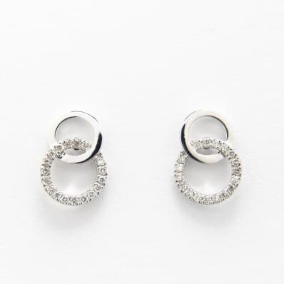 Diamond Stud Link Earrings