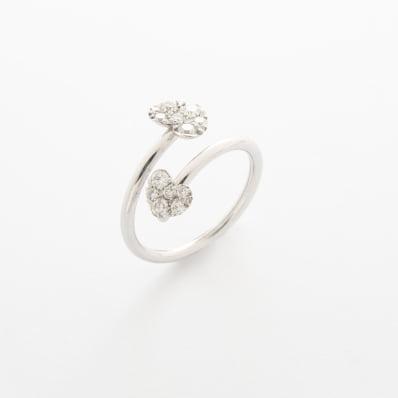 Diamond Heart Cross-Over Ring