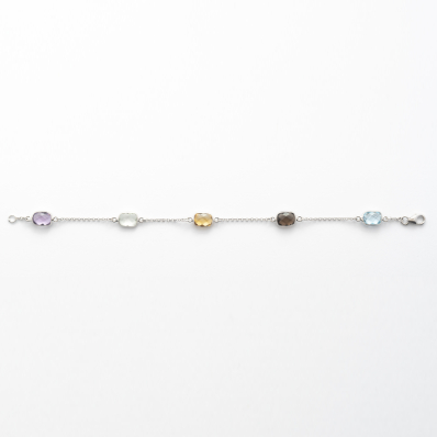 White Gold Multi-Gemstone Bracelet