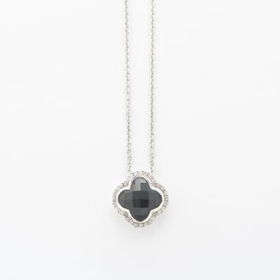 Onyx & Diamond Necklace on Anchor Chain