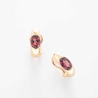 Rhodolite Mini Hoop Earrings