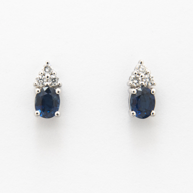 Blue Sapphire & Diamond Stud Earrings