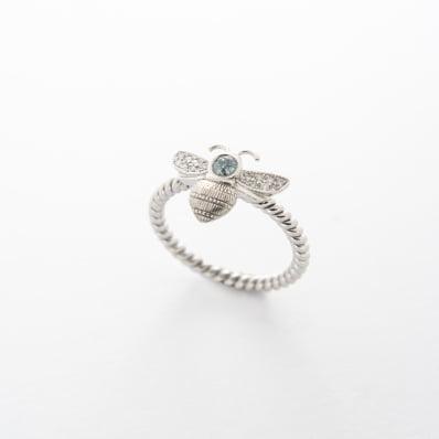 White Gold Diamond Bee Ring