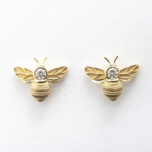 Yellow Gold & Diamond Bee Earrings