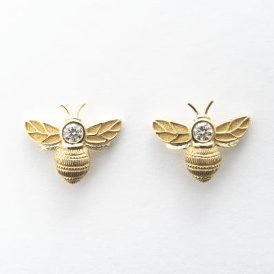Yellow Gold & Diamond Bee Earrings