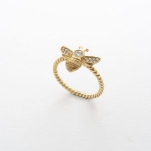 ellow Gold Diamond Bee Ring