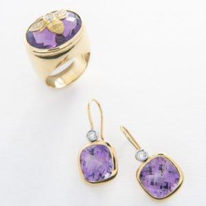 Amethyst & Diamond Bee Ring & Earrings