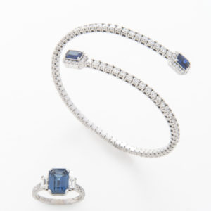 Blue Sapphire & Diamond Ring & Bangle