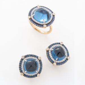 Blue Topaz, Sapphire & Diamond Ring & Earrings