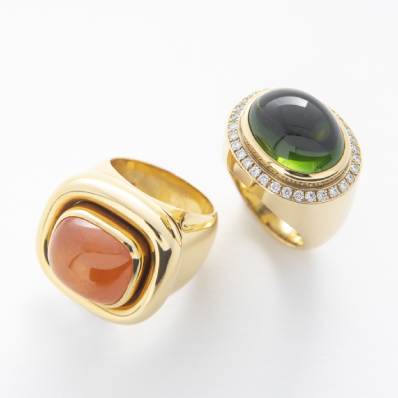 Mandarin Garnet, Gold Tourmaline & Diamond Rings