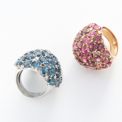 Blue Topaz, Pink Tourmaline & Diamond