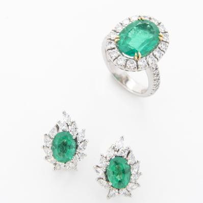 Emerald & Diamond Ring & Earrings