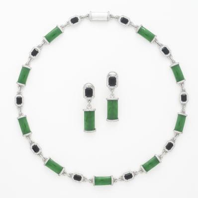 Jade, Tourmaline & Diamond Necklace & Earrings